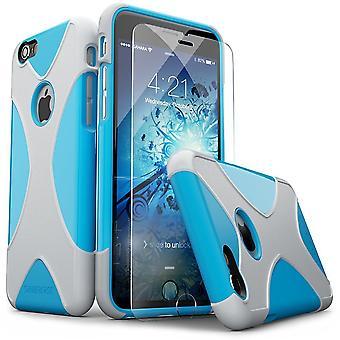 SaharaCase® iPhone 6/6s azul caja de plata, X-Case protector Kit paquete con ZeroDamage® vidrio templado