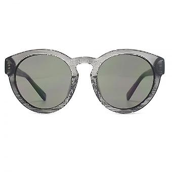 French Connection Premium Chunky Round Sunglasses In Black Clear Texture
