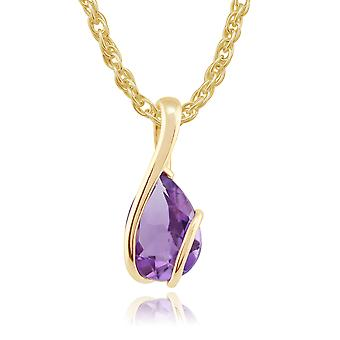 Gemondo 9ct Yellow Gold 1.43ct Pear Cut Amethyst Wrapped Pendant on Chain