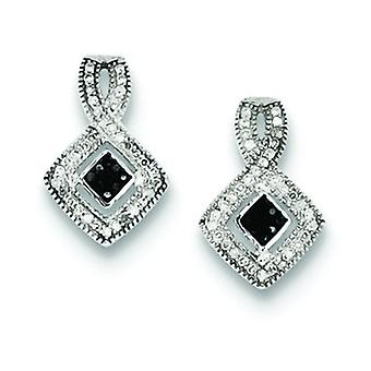 Sterling Silver Black and White Diamond Earrings - .25 dwt
