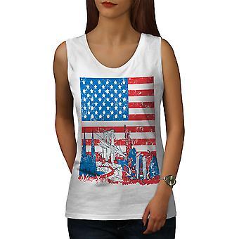 Flag Amerika New York USA kvinder WhiteTank Top | Wellcoda