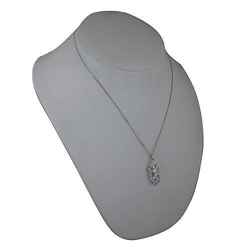 Silver 33x17mm Aries Zodiac Pendant with a curb Chain 20 inches