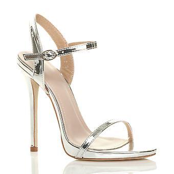 Ajvani das mulheres de salto muito alto fivela metálica mal lá sandálias