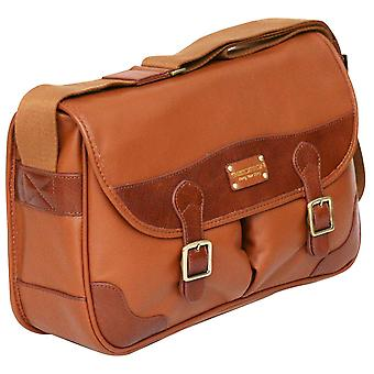 Enzo Design Leather Small Business Briefcase Flapover Unisex Messenger Bag