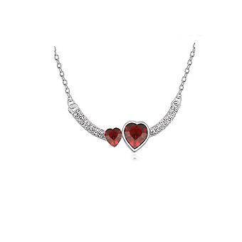 Womens Double Heart Love Red Pendant Necklace