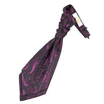 Black & Purple Floral Pre-Tied Wedding Cravat for Boys