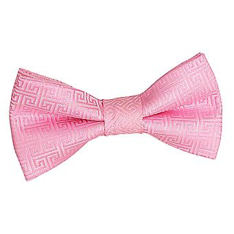Baby Pink Greek Key Pre-Tied Bow Tie for Boys