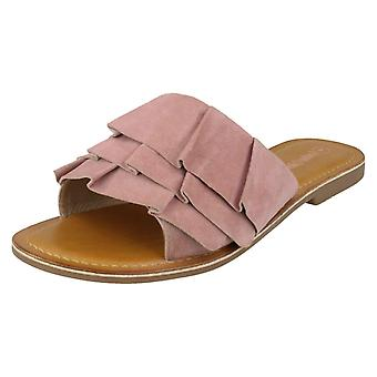 Ladies Leather Collection Frill Vamp Mules F00126