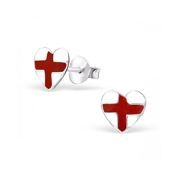 Union Jack Wear St George England Heart Silver Studs - Earings
