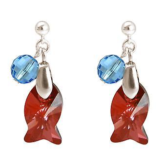 Gemshine - dames - oorbellen - 925 zilver - WITH SWAROVSKI ELEMENTS® - 3 cm vis - rood - blauw - MADE