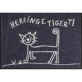 Salão leão capacho Hereingetigert 50 x 75 cm gato lavável capacho
