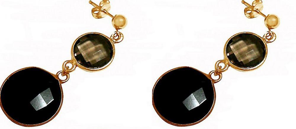 Ohrbaguee 925 argent Veroret Onyx Rauchquarz noir marron – Facetcravatert - 4 cm