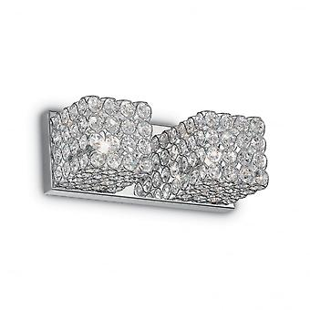 Ideal Lux Admiral Traditional  2 Crystal Wall Cube Light With Chrome Fixture