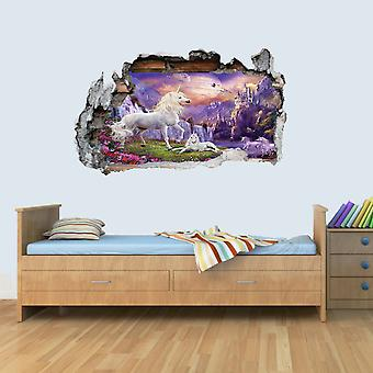 Vinyl Wall Smashed 3D Art Stickers of Illustrated Unicorn Poster Bedroom Boys Girls