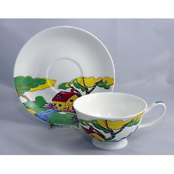 English Bone China Teacup & Saucer ArtDeco