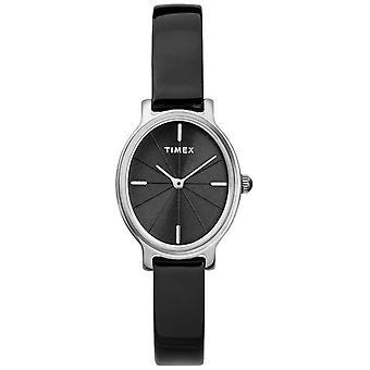 Timex Milano Oval Silver Mesh svart urtavla TW2R94500D7PF damklocka
