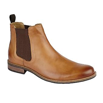 Mens Leather Smart Slip On Twin Gusset Chelsea Ankle Boots Shoes