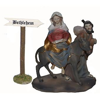 Mary and Joseph on their way to Bethlehem shield crib Nativity stable Nativity accessories