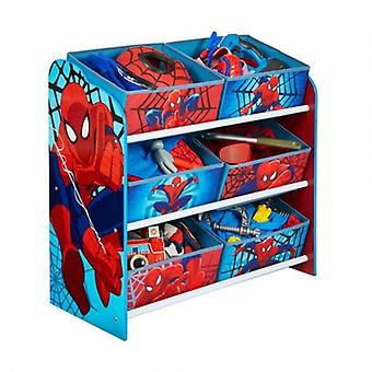 Red and blue Spiderman toy store shelf load plans