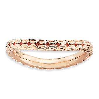 2.25mm Sterling Silver Patterned Stackable Expressions Polished Pink-plated Wave Ring - Ring Size: 5 to 10