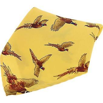 David Van Hagen Flying Pheasant Country Silk Pocket Square - Gold
