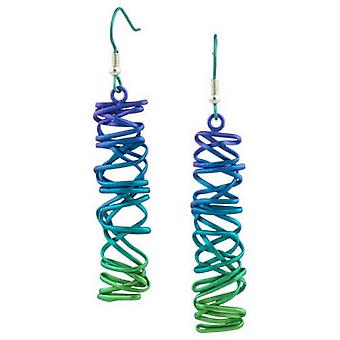 Ti2 Titanium Rectangle Chaotic Drop Earrings - Green