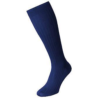 Pantherella Danvers Cotton Lisle Over the Calf Socks - Ultramarine Blue