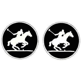 Bassin et brun Polo Player boutons de manchette - noir/blanc