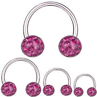 Circular Barbell Horseshoe Titanium 1,2 mm, Multi Crystal Ball Pink   6 - 12 mm