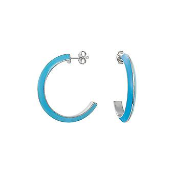 ESPRIT women's earrings Creole stainless steel Silver Marin 68 blue ESER11113E000