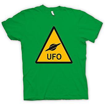 Mens T-shirt - UFO Warning Sign - Funny Kids