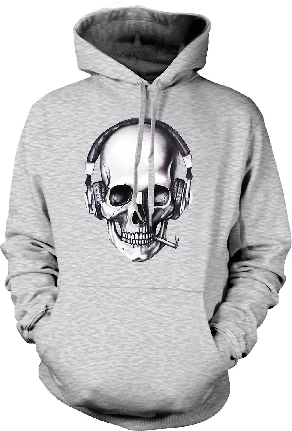 Mens Hoodie - Skull DJ Headphones