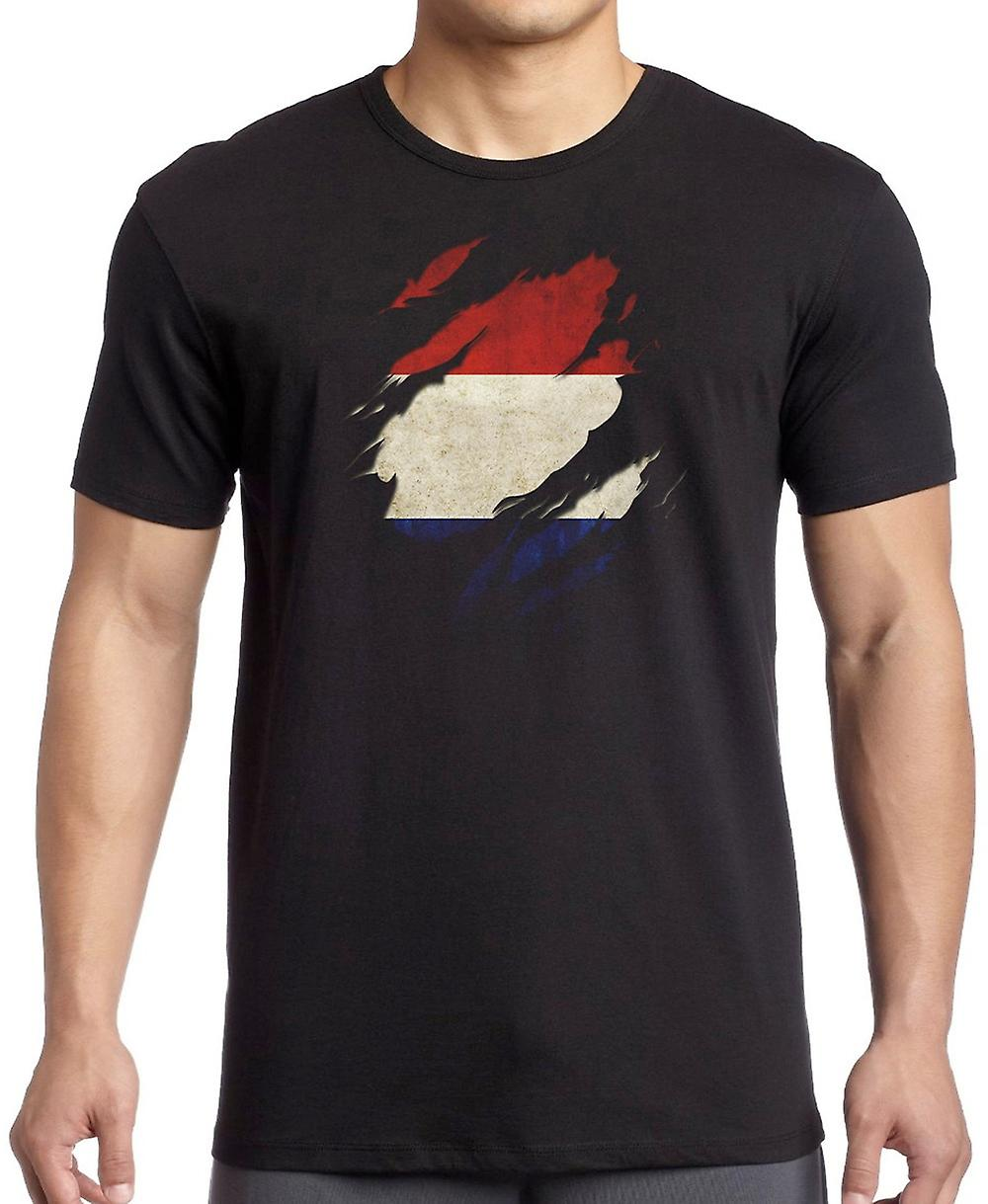 Netherlands Grunge Flag Ripped Effect T Shirt  - 3xl