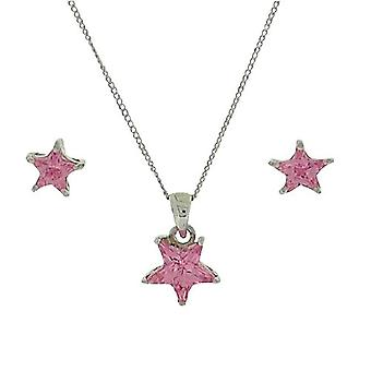 TOC Sterling Silver Pink CZ Set Star Studs & Pendant Necklace 18
