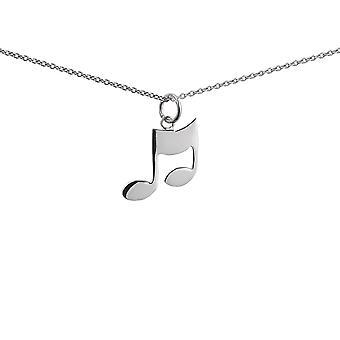 Sølv 17x16mm musikalske Note vedhæng med en 1mm bred rolo kæde 14 inches kun egnet for børn