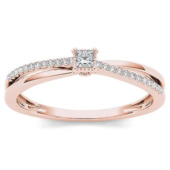 IGI Certified 10k Rose Gold 0.13 Ct Princess Diamond Classic Engagement Ring