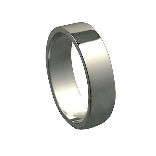 18ct White Gold 6mm plain flat Wedding Ring Size Z