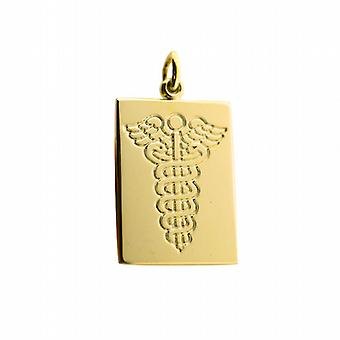 9ct Gold 25x18mm rectangular medical alarm Disc