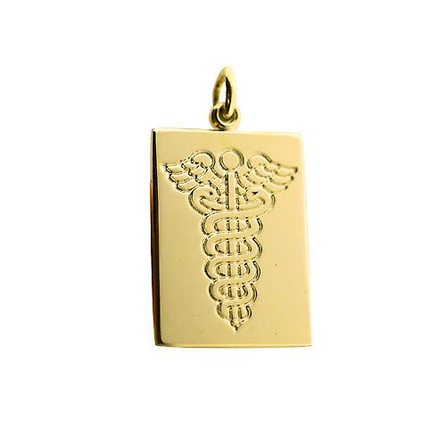 9ct Gold 25x18mm rectangular disc with Medical Symbol