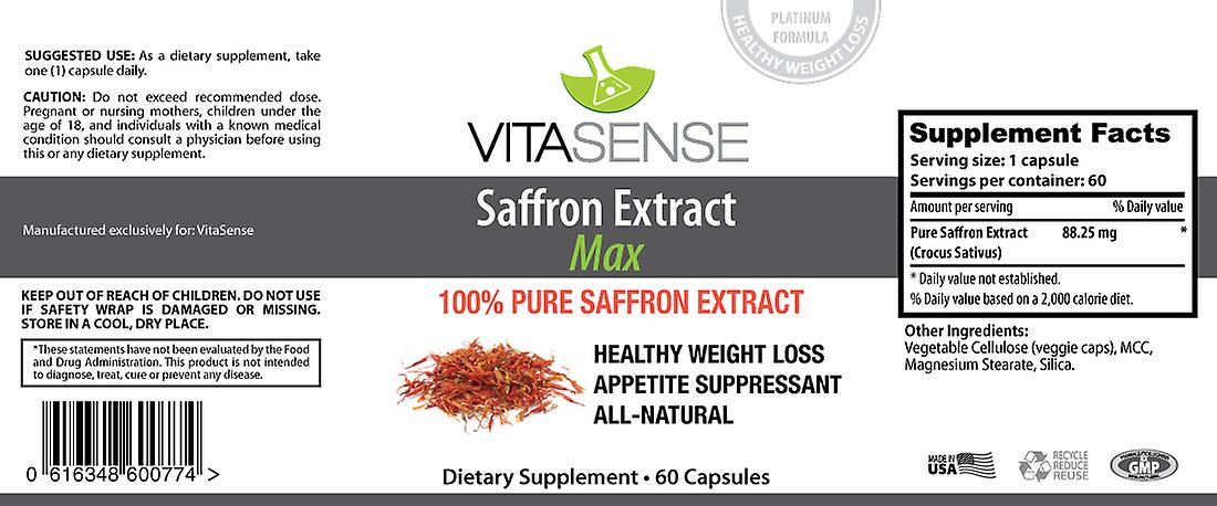 VitaSense Saffron Extract (Crocus Sativus) - 88.25 Mg MAX - 60 Capsules - New Weight Loss/Detox/Dieting Supplement
