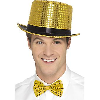 Adults Gold Sequin Top Hat  Fancy Dress Accessory
