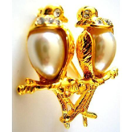 Romantic Love Dude Birds On Gold Stem Valentine Gift