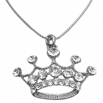 Silver Crown Fully Embedded w/ Bling Bling Diamante Pendant Necklace