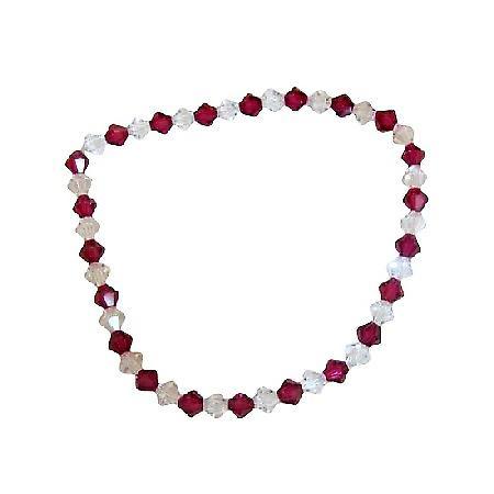 Clear Crystals & Fuchsia Swarovski Crystals Stretchable Bracelet