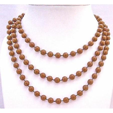 Long 2 Or 3 Strands Brown Necklace Lucite Brown Bead Long Necklace