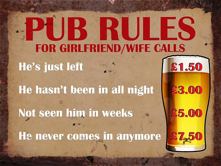Vintage Metal Wall Sign - Pub Rules