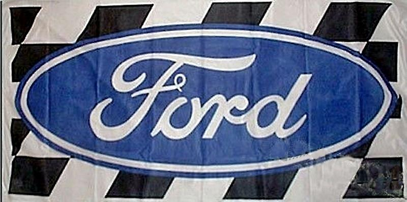 Large Ford flag (logo + chequers) 1500mm x 740mm  (of)