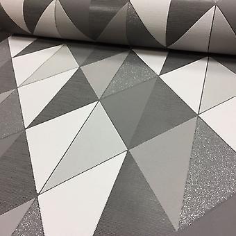 Geometric Wallpaper Glitter Retro Triangle Diamond Textured Paste The Wall Orion Grey/Black