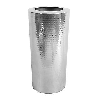 Leaf Metal Vase Large 15 x 30cm High Hammered Silver Colour