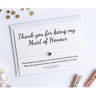 Thank You For Being My Maid Of Honour Charm Bracelet With Envelope